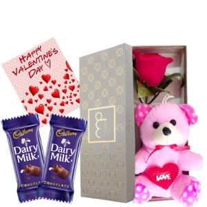 Maalpani Chocolate Hamper Gift Box For Valentine Day - Rose Day – Chocolate Day – Teddy Day | Chocolate and Teddy Bear With Artificial Rose Gift...