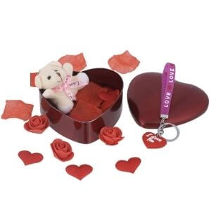 SHOPERIYA® Valentine Beautiful Romantic Unique Gifts With Heart shape I Love You Key-Chain & Cute Teddy bear Gift Box-Valentine Day Gift for...