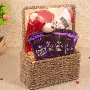 TIED RIBBONS Valentine Day Gift for Girlfriend Wife Sister - Valentines Gift Pack (Teddy Bear, Artificial Rose, Dairy Milk Chocolates, Basket)