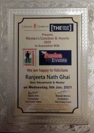 Best Educationist and Mentor Award by The Crazy Tales in Women's Conclave & Awards 2020