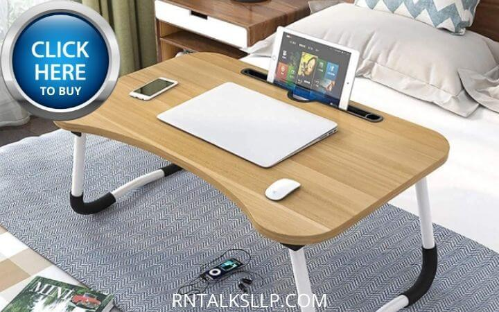 Laptop Bed Tray Table, SAIJI Adjustable Laptop Bed Stand, Portable Standing Table with Foldable Legs, Foldable Lap Tablet Table for Sofa Couch Floor